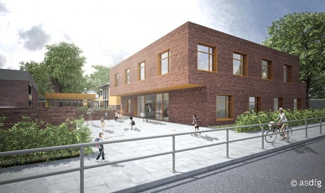 asdfg - Architekten - SPS - Eingangsgebäude Grundschule Potsdamer Strasse Hamburg - Wettbewerb 1.Preis